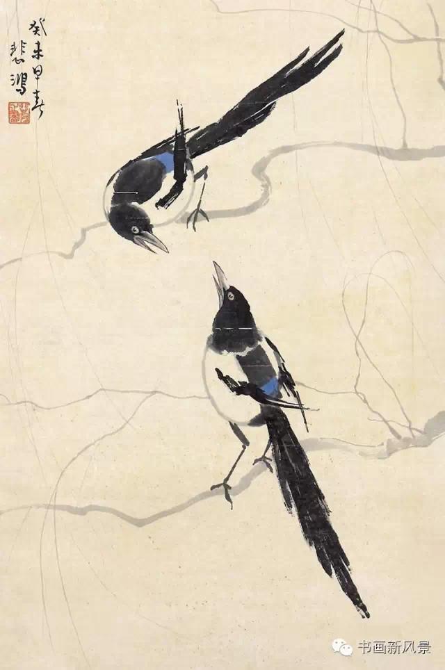 柳树枝条,刚劲流畅,树静枝拂,鹊跃纸面.